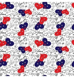 Seamless pattern of hearts and handwriting vector image