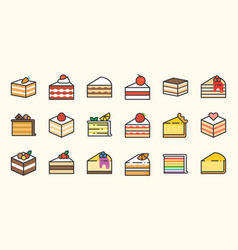 set of cake filled outline icon vector image