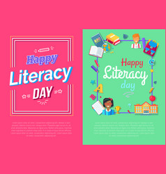 Set of posters for literacy day posters vector