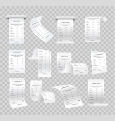 set of realistic paper checks vector image