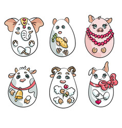 Set with 6 animals in a shape of eggs these cute vector