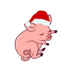 Sleeping piglet wearing a santas hat new year vector