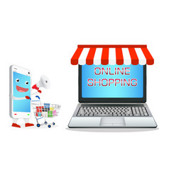 smartphone cartoon shopping at laptop online store vector image