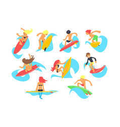 surf people characters with surfboard riding waves vector image