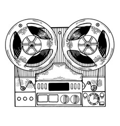 Tape recorder engraving style vector