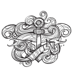 The ships anchor and crab tattoo monochrome for vector