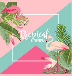 Tropical flowers and flamingo summer banner vector