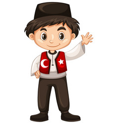 Turkish boy waving hand hello vector