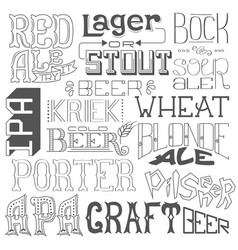 Types of beer hand drawn lettering for bar pub vector