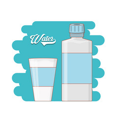 water bottle and glass icon vector image