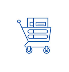 wheelbarrow in the supermarket line icon concept vector image
