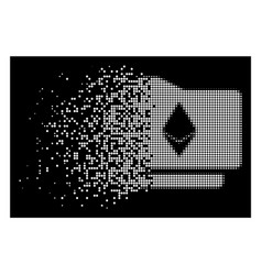 White dissolved pixelated halftone ethereum wallet vector