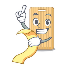 With menu wooden cutting board mascot cartoon vector