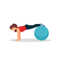 young athlete woman doing plank exercise using vector image