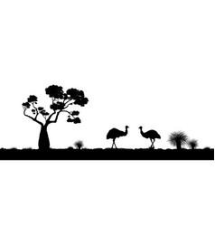 australian landscape black silhouette of emu vector image vector image