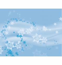 flurry of snowflakes on blue vector image