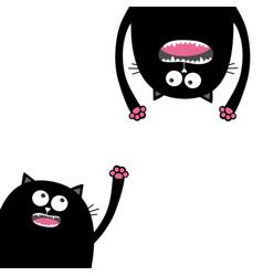screaming cat set head silhouette two eyes teeth vector image vector image