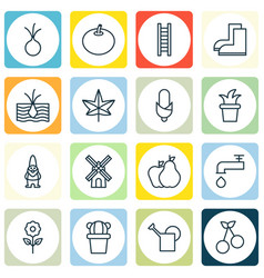 Set of 16 farm icons includes autumn plant mill vector