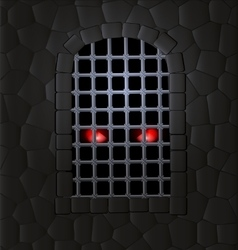 stone wall and red eyes vector image