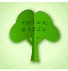 Stylized green paper tree with shadow vector image vector image
