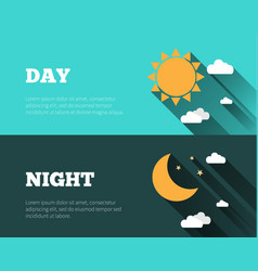sun moon stars day and night sky banners vector image