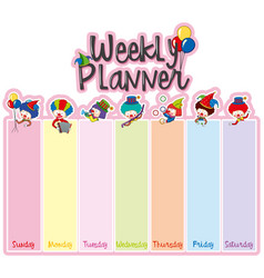 weekly planner note template with happy clowns vector image vector image