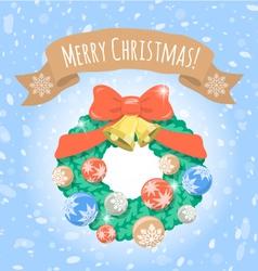 Christmas Wreath on Snowy Background vector image