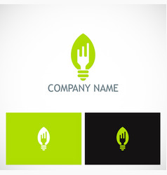 fork light bulb food company logo vector image vector image