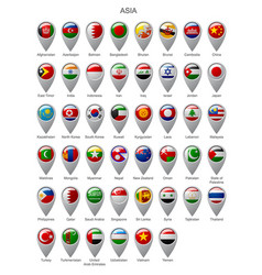 map marker set with flags of asia vector image vector image