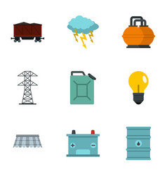 Power industry icon set flat style vector