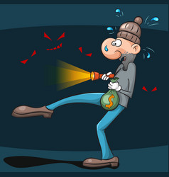 thief is very afraid to steal the money vector image vector image