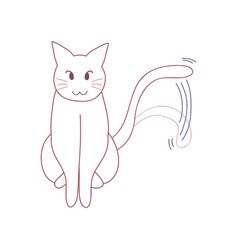 white cute cat wagging their tail vector image
