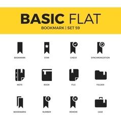 Basic set of bookmark icons vector image