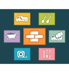 Construction icons set on flat design vector