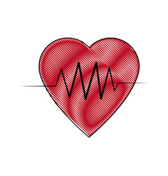 heartbeat line heart cardio analysis medicine vector image vector image