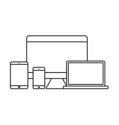 mockup gadget and device outline icons set vector image
