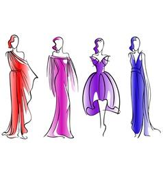 Modern fashion models of beautiful dresses vector image vector image
