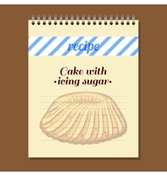 Recipe Book Cake With Icing Sugar vector image