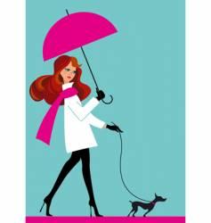 woman with umbrella vector image
