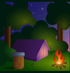 camping in forest-2 vector image