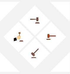 flat icon hammer set of defense legal law and vector image