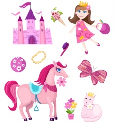 princess elements set vector image vector image