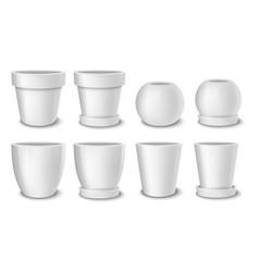 realistic white empty flower pot set vector image vector image
