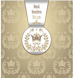 Royal seamless pattern with crown wreath light vector image vector image
