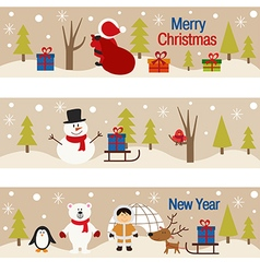 set of horizontal banners with christmas trees and vector image