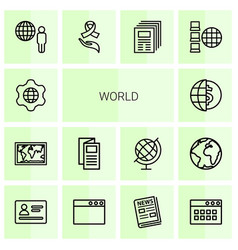 14 world icons vector image