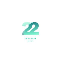 22 green pastel gradient number numeral digit vector