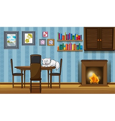 A cat sleeping above table beside the vector