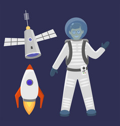 astronaut space landing spaceship future vector image