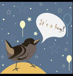 Baby boy birth announcement cute bird announces vector